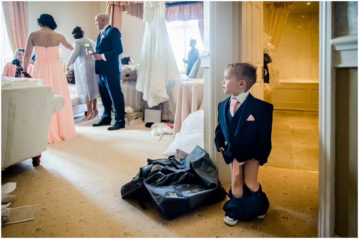 Clearwell Castle wedding - reportage moment with pageboy