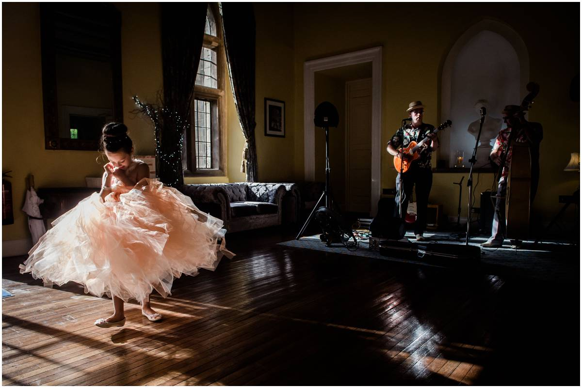 Clearwell Castle wedding - bridesmaid dancing